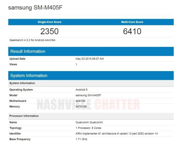 Samsung Galaxy M40 specification