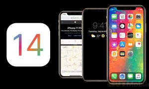 IOS 14 concept with new icons Split View mode etc